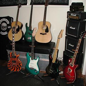 Pre-Adding The Gibson LP Studio Red Wine and '89 Epi STD. Sadly...the Strat, and Kramer have  now gone to a new home.