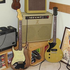 Gibson Custom Shop '57 LP TV Model, and a Fender '61 Strat Custom Replica with Brazilian Rosewood Fretboard, Fender Custom Shop Jimi Hendrix Voodoo Tr