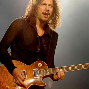 Kirk Hammett and one of his Les Pauls